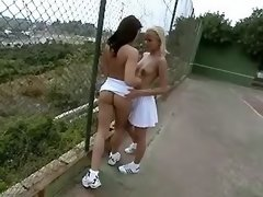 Sporty lesbian chick licks her girlfriend outdoor